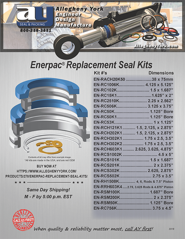 Enerpac Replacement Seal Kit Flyer